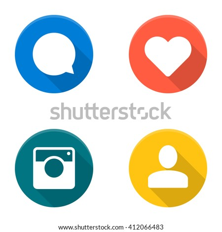 Set of vector social network icons. Flat icons. Vector icons