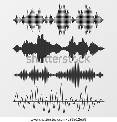 Set of vector sound waves - stock vector