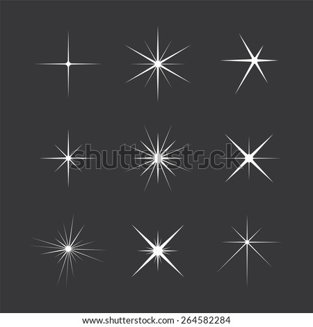 Set of Vector Sparkles Star - stock vector