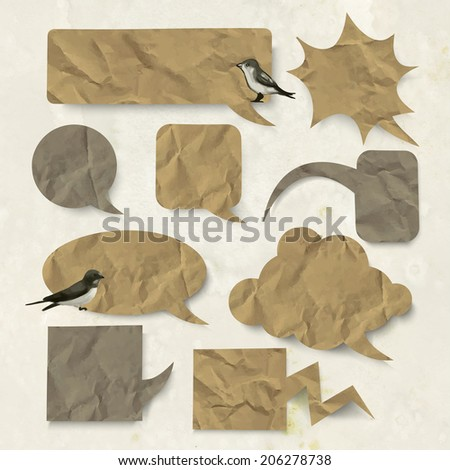 Set of vector speech bubbles with old folded paper texture