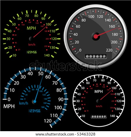 Set of vector Speedometer and Counter in miles and kilometers - stock vector