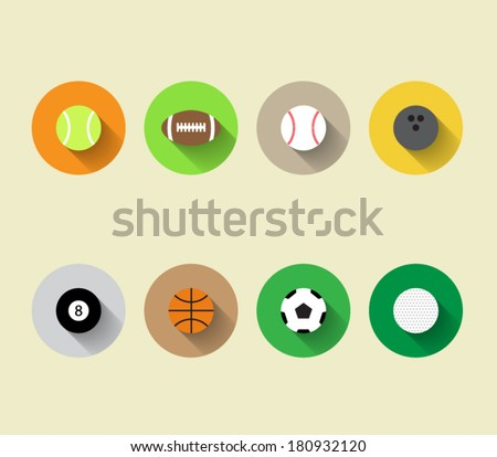 Set of vector sport ball icons with long shadow and flat design style, baseball, basketball, tennis, soccer, football, bowling, golf, pool. For websites or applications for smartphones and tablets - stock vector