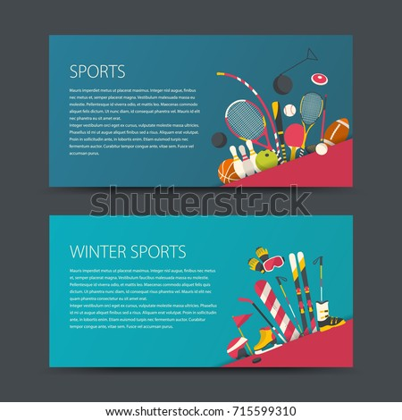 Set of vector sport banners. Flat design sport concept. Sports summer and winter equipment.