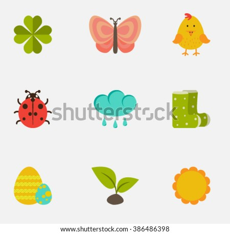 Set of Vector spring flat icons. - stock vector