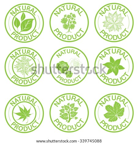 Set of vector stamps with leafs - natural product - stock vector