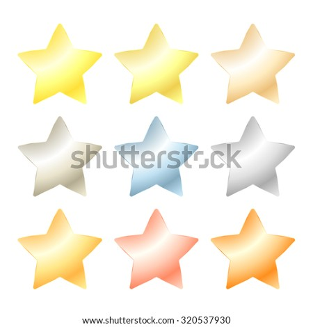 set of vector star of platinum, gold, white gold, silver, bronze, copper, brass, aluminum