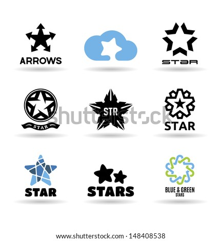 Set of vector stars (4). - stock vector