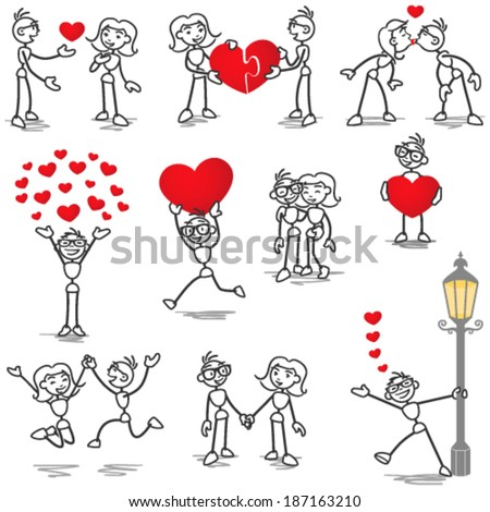 Set of vector stick figures: Stickman and woman in love, with hearts, holding hands, kissing. - stock vector