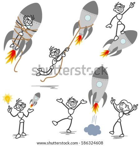 Set of vector stick figures: Stickman with rocket, startup, entrepreneur, teamwork, tied and fired. - stock vector