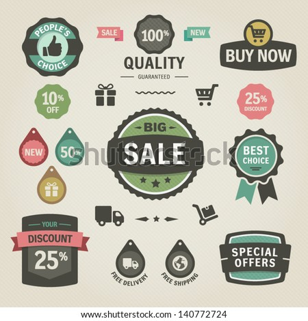 Set of vector stickers, labels, tags and icons. Solid colors. - stock vector