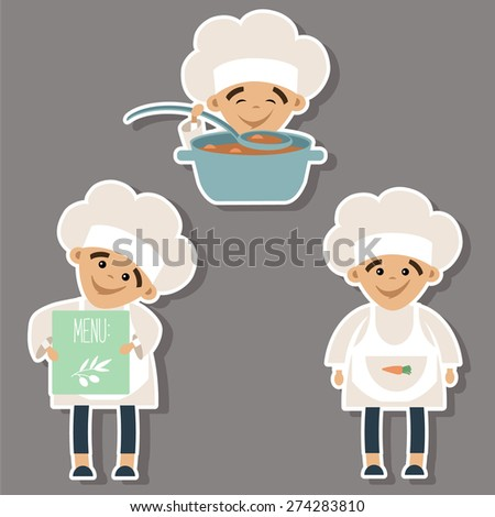 Set of vector stickers with a little chef. - stock vector