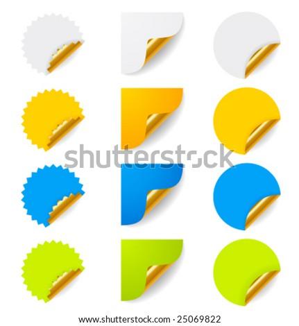 Set of vector stickers with golden corners - stock vector