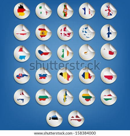 Set of vector stickers with map and flag of the states of the European Union - stock vector