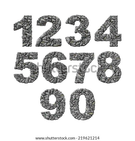 Set of vector stone numerals isolated white background - stock vector