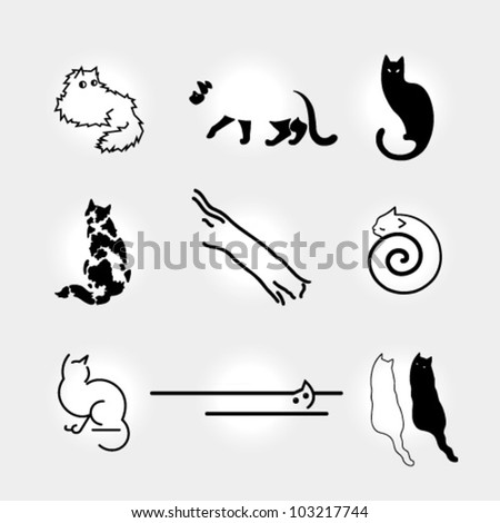 Set of vector stylized cats - stock vector