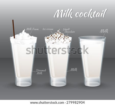 Set of vector summer cocktails. Milk and milkshake in a glass isolated on grey background.  Vector illustration realistic style - stock vector
