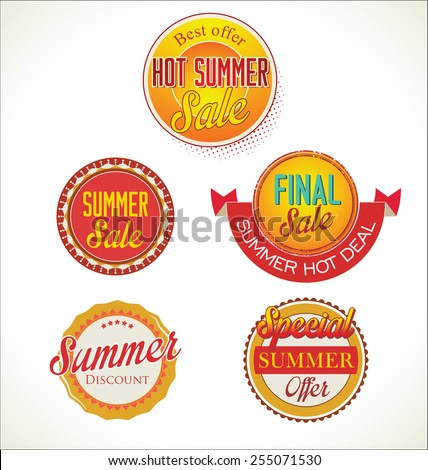 Set of vector summer sales labels