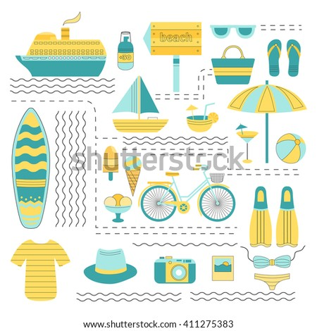 Set of vector summer. Set of flat icons summer vacation. Collection of elements of summer vacation, travel, holiday, sports. Vector illustration of summer. Elements for design. Template for design.