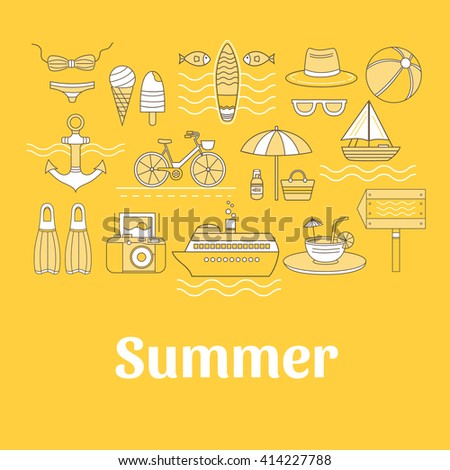 Set of vector summer. Set of icons summer vacation. Different elements of a summer vacation - a cruise liner, beach, surfboard, boat, swimsuit, cocktail and other. Collection  icons for summer travel