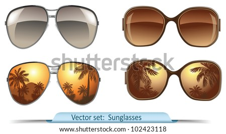 set of vector sunglasses - stock vector