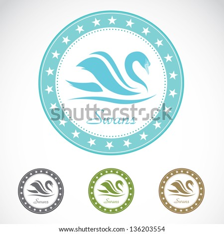 Set of vector swan label on white background - stock vector
