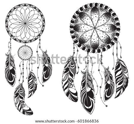 Set Vector Symbol Dream Catcher Feathers Ethnic Mandala Stock Vector