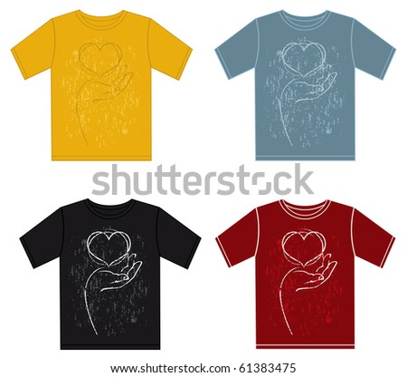 Set of Vector T-shirt design with hand holding the heart - stock vector