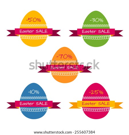 Set of vector tags for easter sale - stock vector