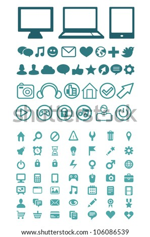 Set of vector technology icons for software, application or websites