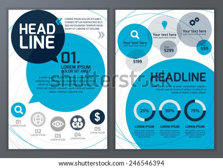 Set of vector template for brochure, flyer, poster, application and online service.  Colorful circles vector background.