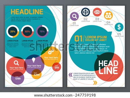 Set of vector template for brochure, flyer, poster, application and online service. Colorful circles vector background. - stock vector