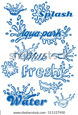 set of vector template with elements of the water for milk, juice, pure water - stock vector
