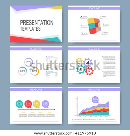 Set of vector templates for multipurpose presentation slides. Modern business design with graph and charts. Leaflet marketing advertising.