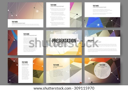 Set of 9 vector templates for presentation slides. Abstract colored background, triangle design vector illustration. - stock vector