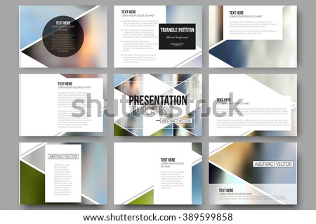 Set of 9 vector templates for presentation slides. Abstract multicolored background of blurred nature landscapes, geometric vector, triangular style illustration. - stock vector