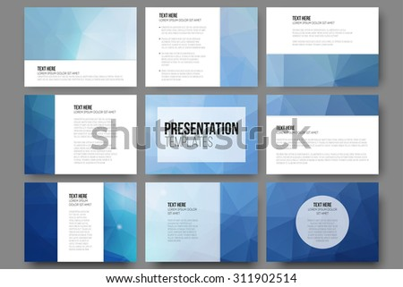 Set of 9 vector templates for presentation slides. Abstract triangle design vector background. - stock vector