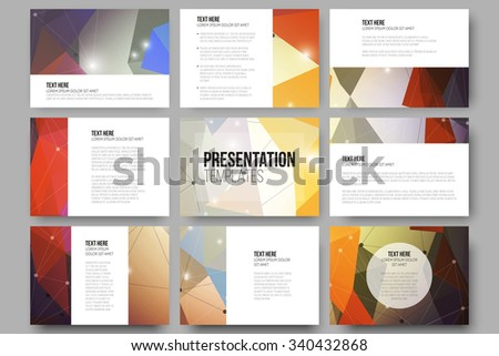 Set of 9 vector templates for presentation slides. Colorful graphic design, abstract vector background. - stock vector