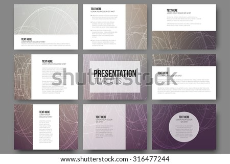 Set of 9 vector templates for presentation slides. Conceptual abstract scientific vector background, minimalistic design - stock vector
