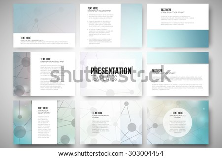 Set of 9 vector templates for presentation slides. Graphic design of molecule structure, blue scientific vector background. - stock vector