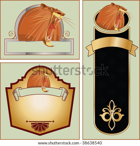 Set of vector templates for registration and design with a muzzle of a growling lion - stock vector