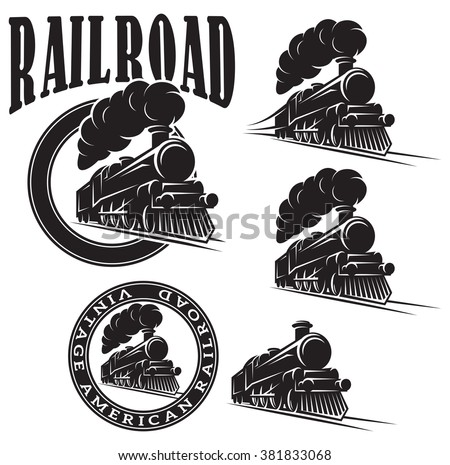 set of vector templates with a locomotive, vintage train - stock vector
