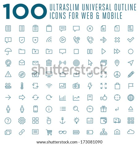 Set of 100 vector thin outline trendy icons for web and mobile - stock vector