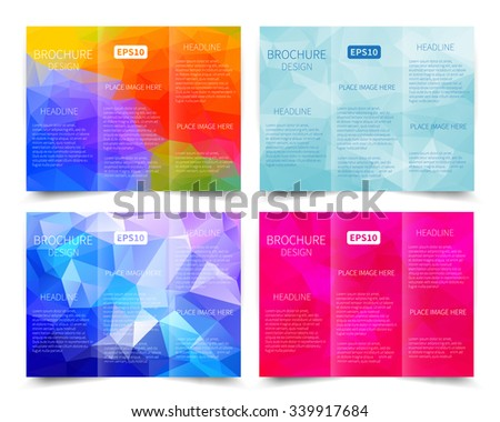 Set of vector three-fold brochure design templates with abstract geometric background EPS10 Tri-Fold Mock up & back Brochure Design  - stock vector