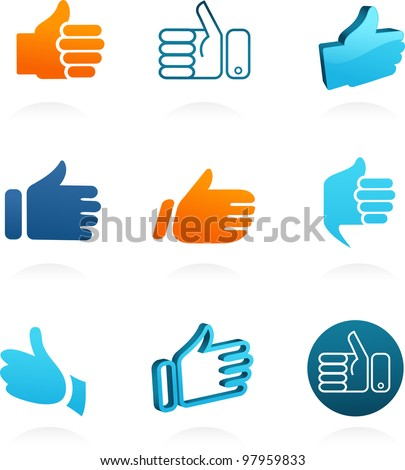 set of vector thump up and like icons