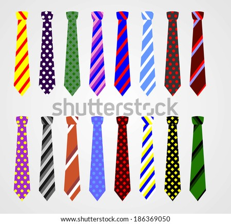 Set of vector ties - stock vector
