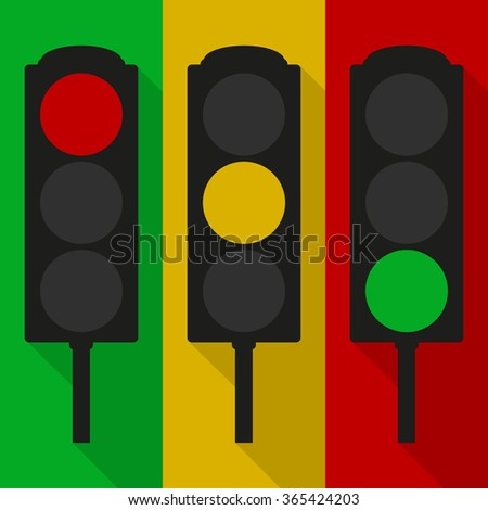 Set of vector traffic  lights isolated on red, yellow and green