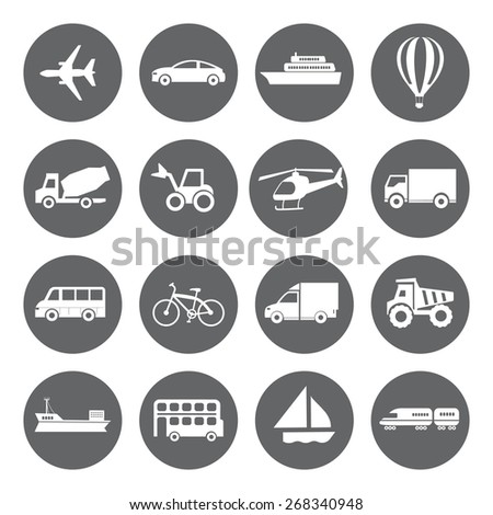 Set of vector Transport icons in flat style, white on grey basis - stock vector