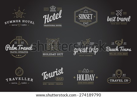 Set of Vector Travel Tourism and Holiday Elements Icons Illustration can be used as Logo or Icon in premium quality - stock vector