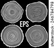 Set of vector tree rings background and saw cut tree trunk. Conceptual graphics on black.