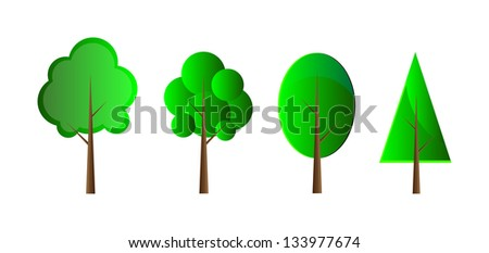 Set of vector trees. Isolation over white background. - stock vector